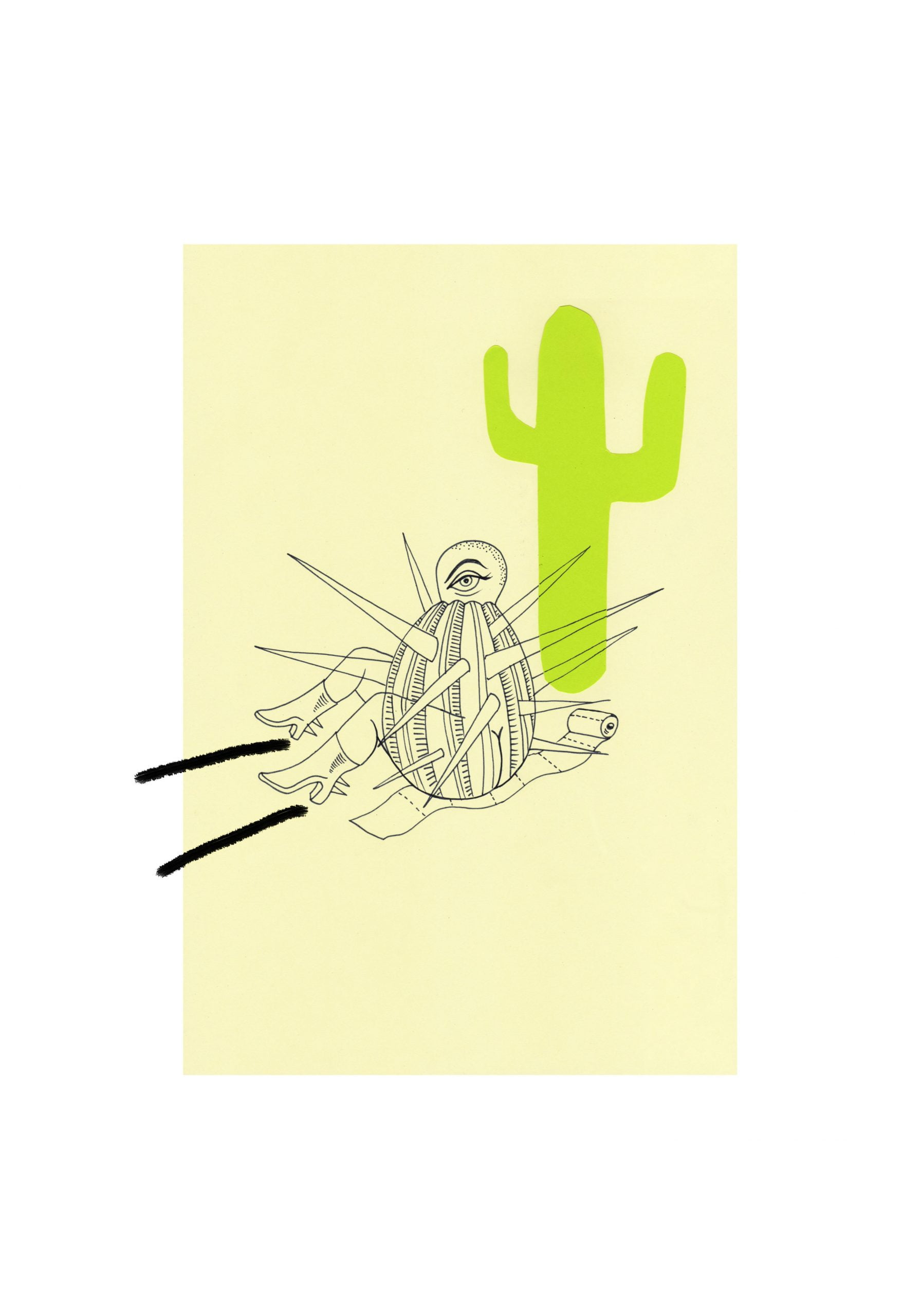 A portrait drawing in a yellow rectangle of a spiked round object with an eye and legs is sitting on an unravelled toilet roll next to a green cactus shape. Two black lines point away from the legs. A white background frames the drawing.