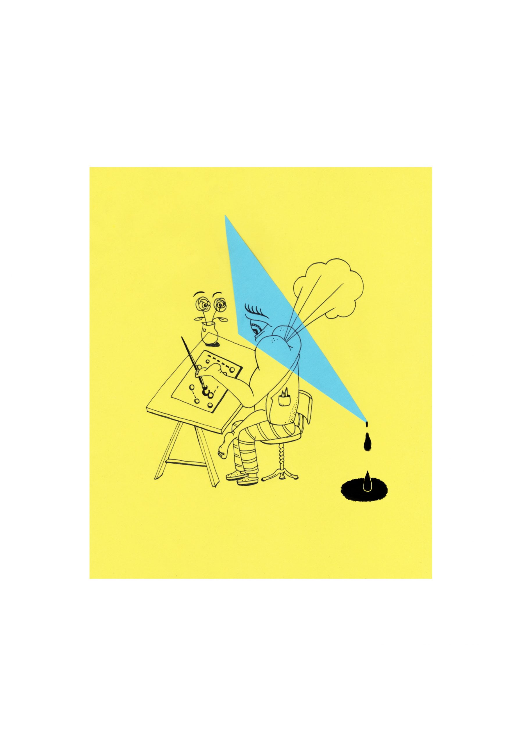 A portrait drawing in a yellow square of a figure with legs instead of arms sits painting at a desk. A light blue triangle overlays on the figure and drips a black liquid from its lowest point into a hole in the floor. A white background frames the drawing.