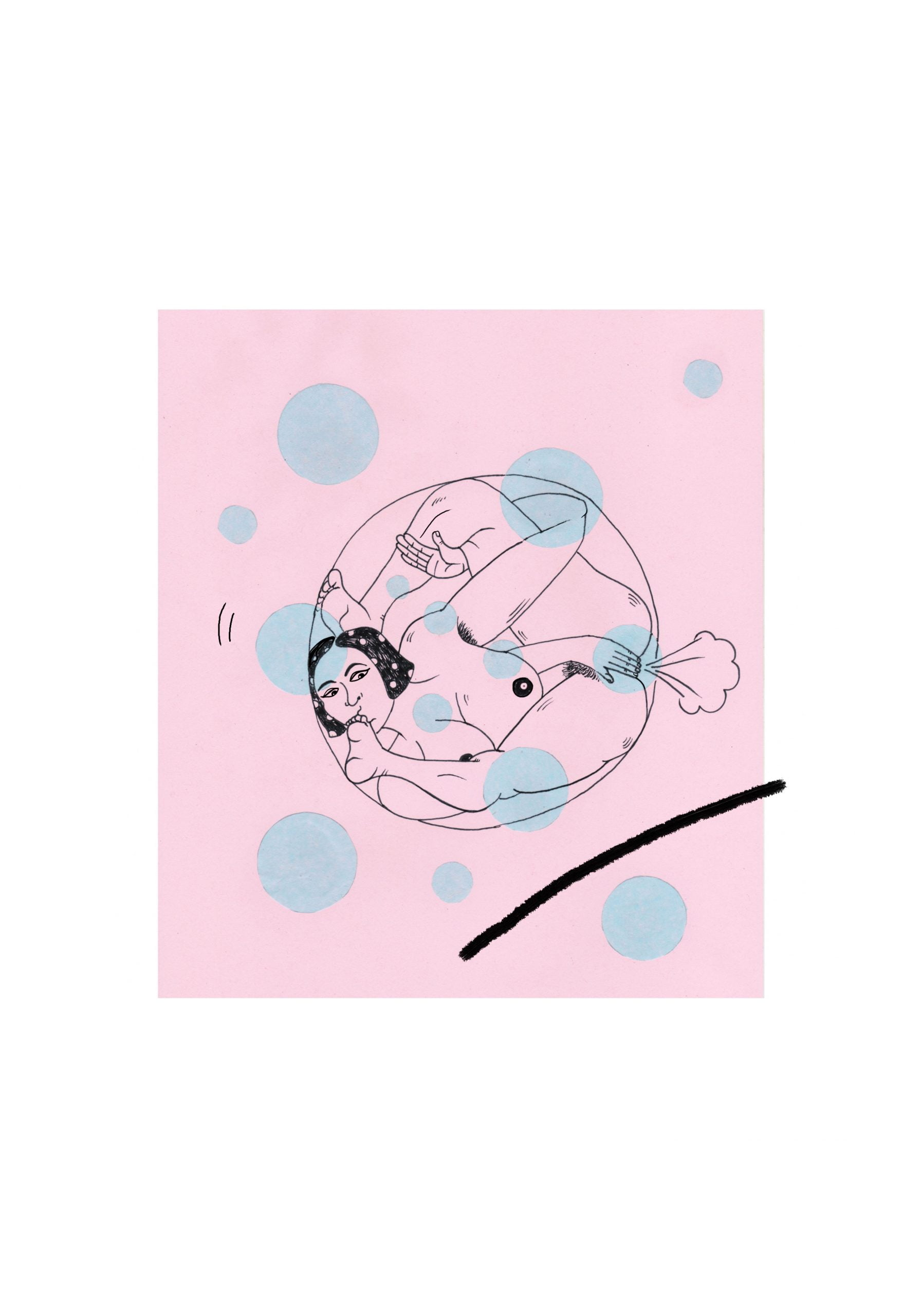 A portrait drawing in a pink square with multiple blue dots of a figure contorted in a bubble. They are naked and cover their genitals with their hand as a cloud of gas exits their body. A single black line is in the bottom right hand corner and a white background frames the drawing.