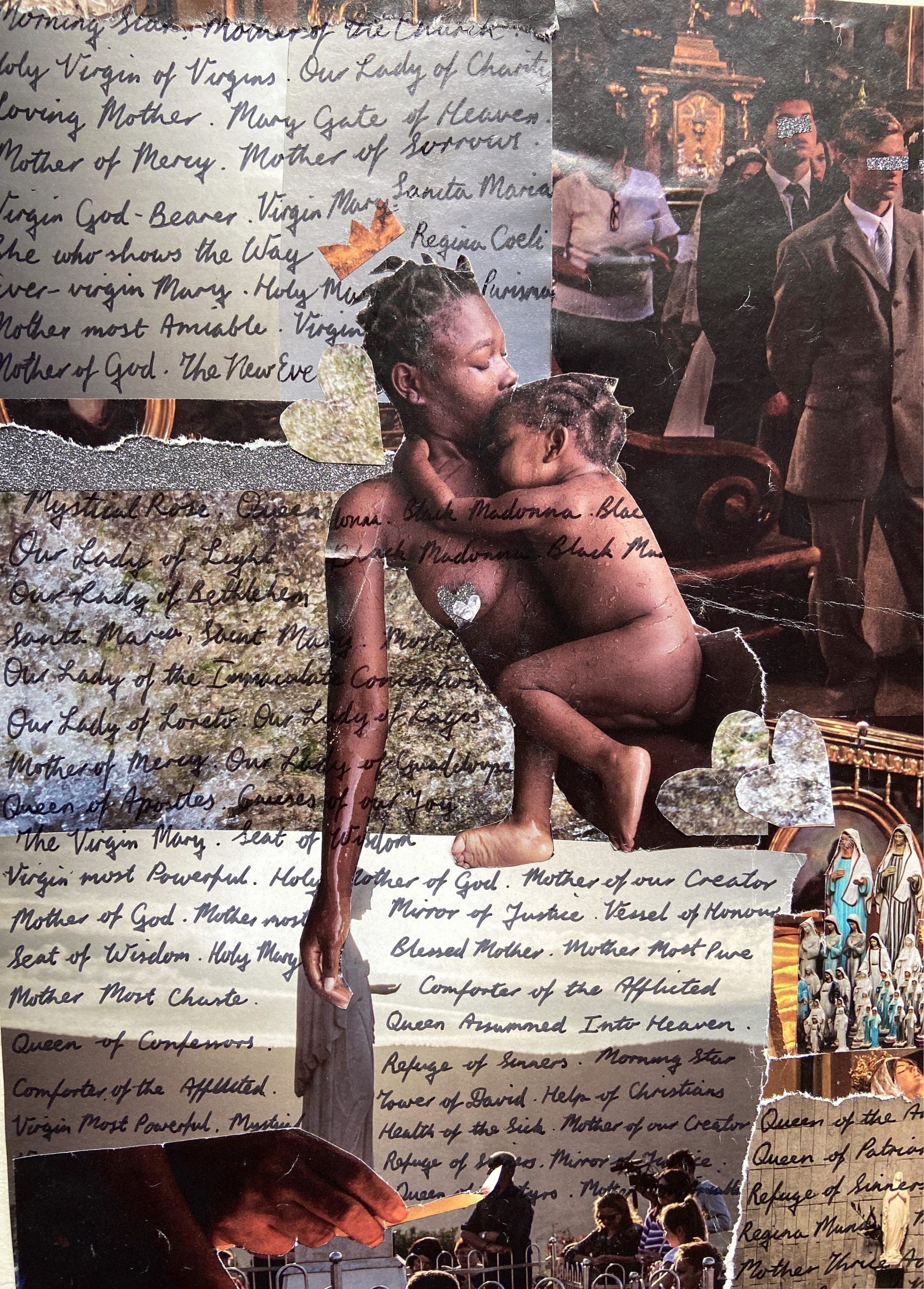 A near-naked African mother and baby appear at the centre of a swirling collage of Catholic iconography as well as torn samples of religious thoughts handwritten on notepaper, while part of the backdrop shows young white men standing in the aisles of a church during what appears to be a wedding ceremony. Censorship marks blank out their eyes.