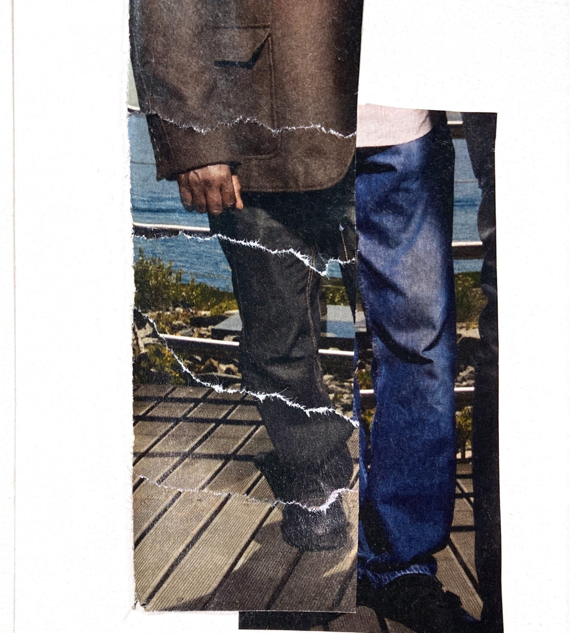 A photo collage of the lower half of a man on decking or a boardwalk, disrupted so that the legs are separate, wearing a different colour of jeans to the other, and rips seeming to appear across the rest of his body and clothing.