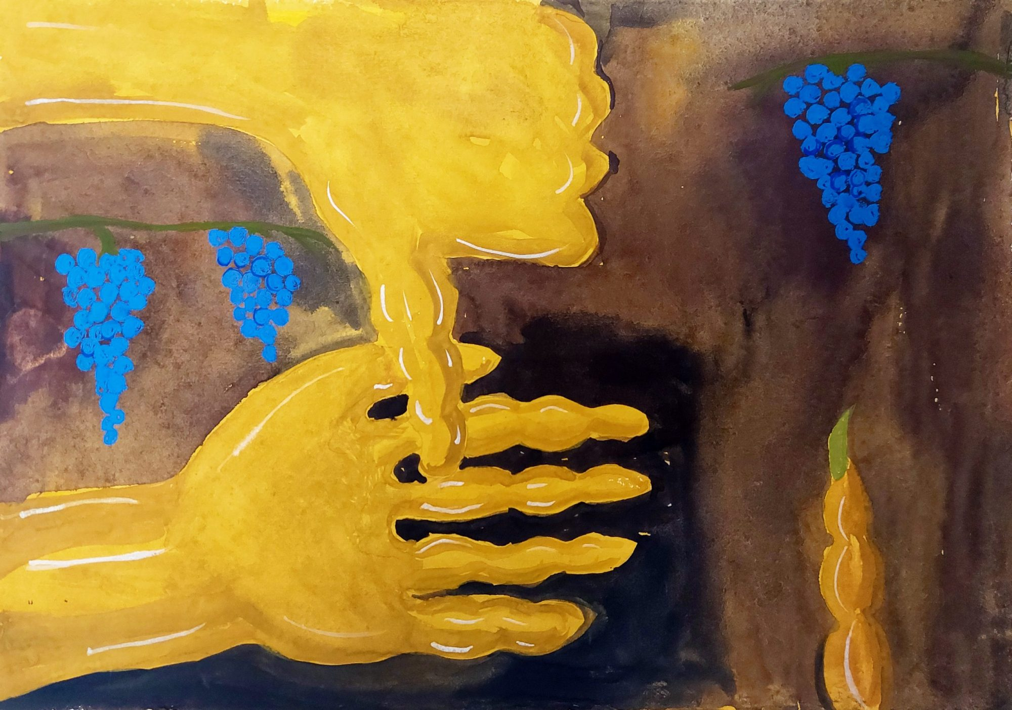This landscape A4 painting shows two yellow hands and forearms stretched out to the centre of the page from the left hand side. The upper hand shows a 'thumbs down' pointing into the lower hand that remains palm up and open. In the background are bunches of blue berries in a brown cave-like space.
