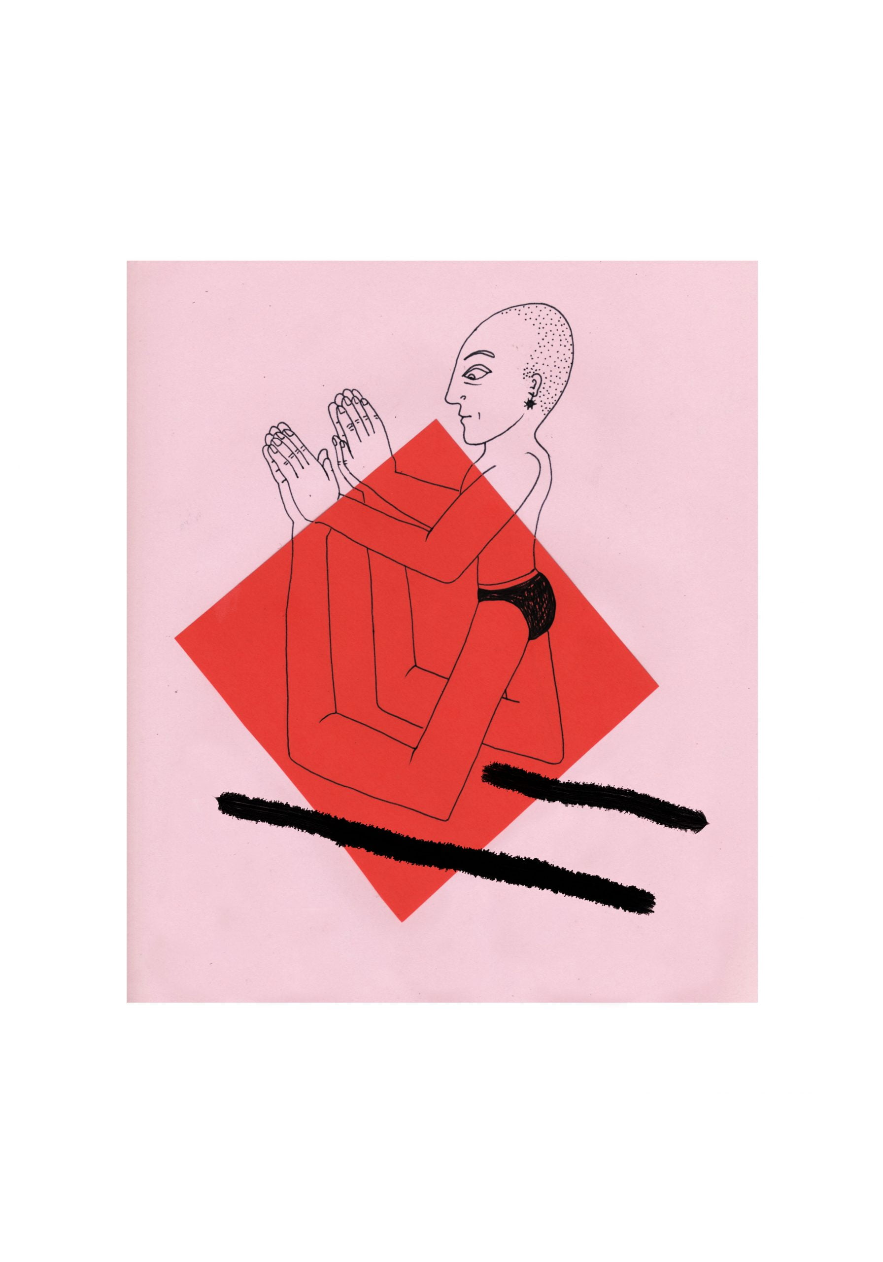 A bald figure wearing black briefs stands upright. Their legs touch the floor, and then rise up out the ground again to become hands. A red diamond sits behind most of this figure. Two thick black lines point away from the legs of the figure. A pink square with a thick white edge contains this drawing.