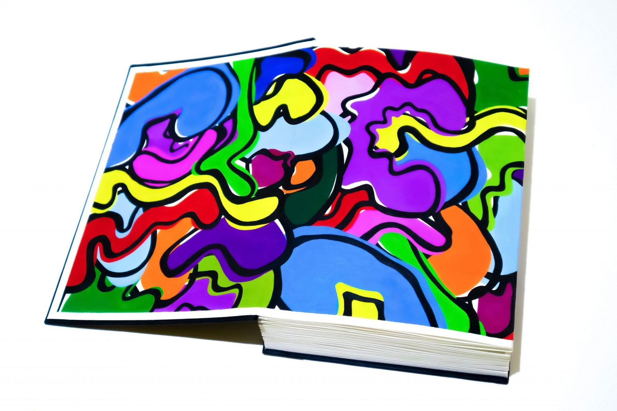 A thick spined book with a black cover is laid open on a white surface. The inside cover and front page is covered in brightly coloured organic shapes and outlined in black.