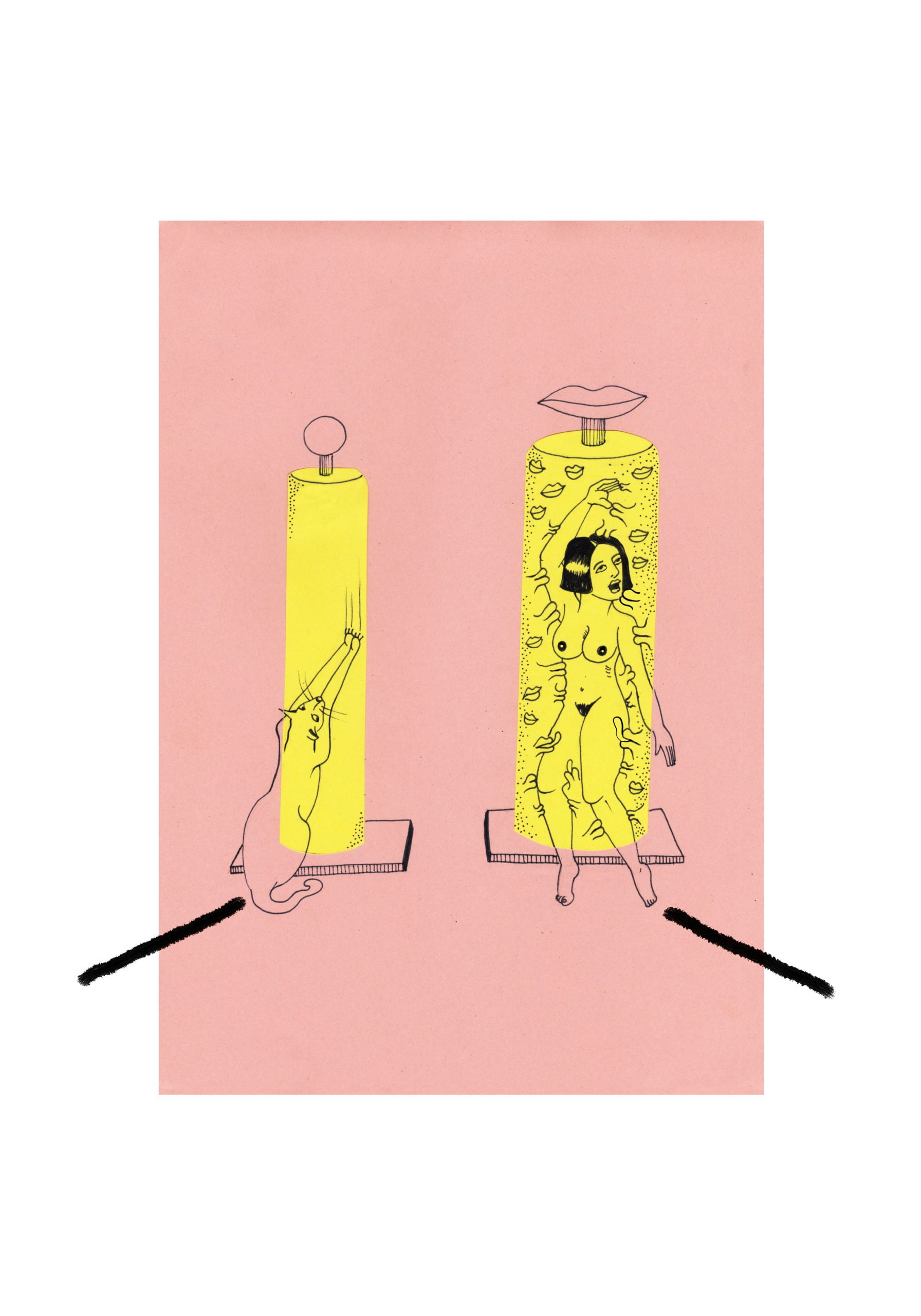 A portrait drawing in a pink rectangle of two small square platforms with a bright yellow cylinder of light. In the left is a cat reaching out to scratch the light. In the right stands a female figure surrounded by many pairs of lips. Two black lines point away from the light sources. A white background frames the drawing.
