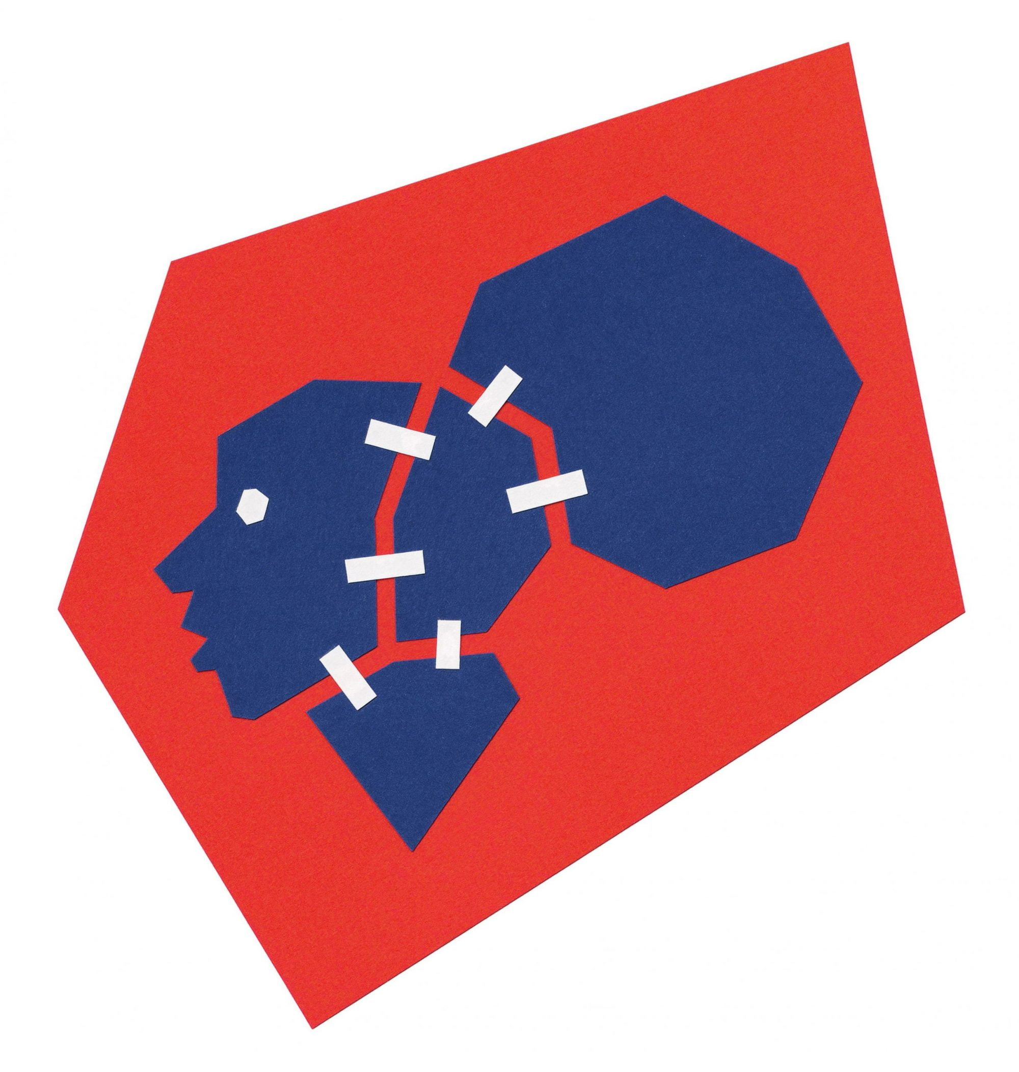 On a white square background sits a dark red rhomboid shape. In this shape is the profile of a deep blue head fractured into four pieces that is held together by small white rectangles resembling tape. The head is turned to our left and shows a small white circle representing the eye on the head.