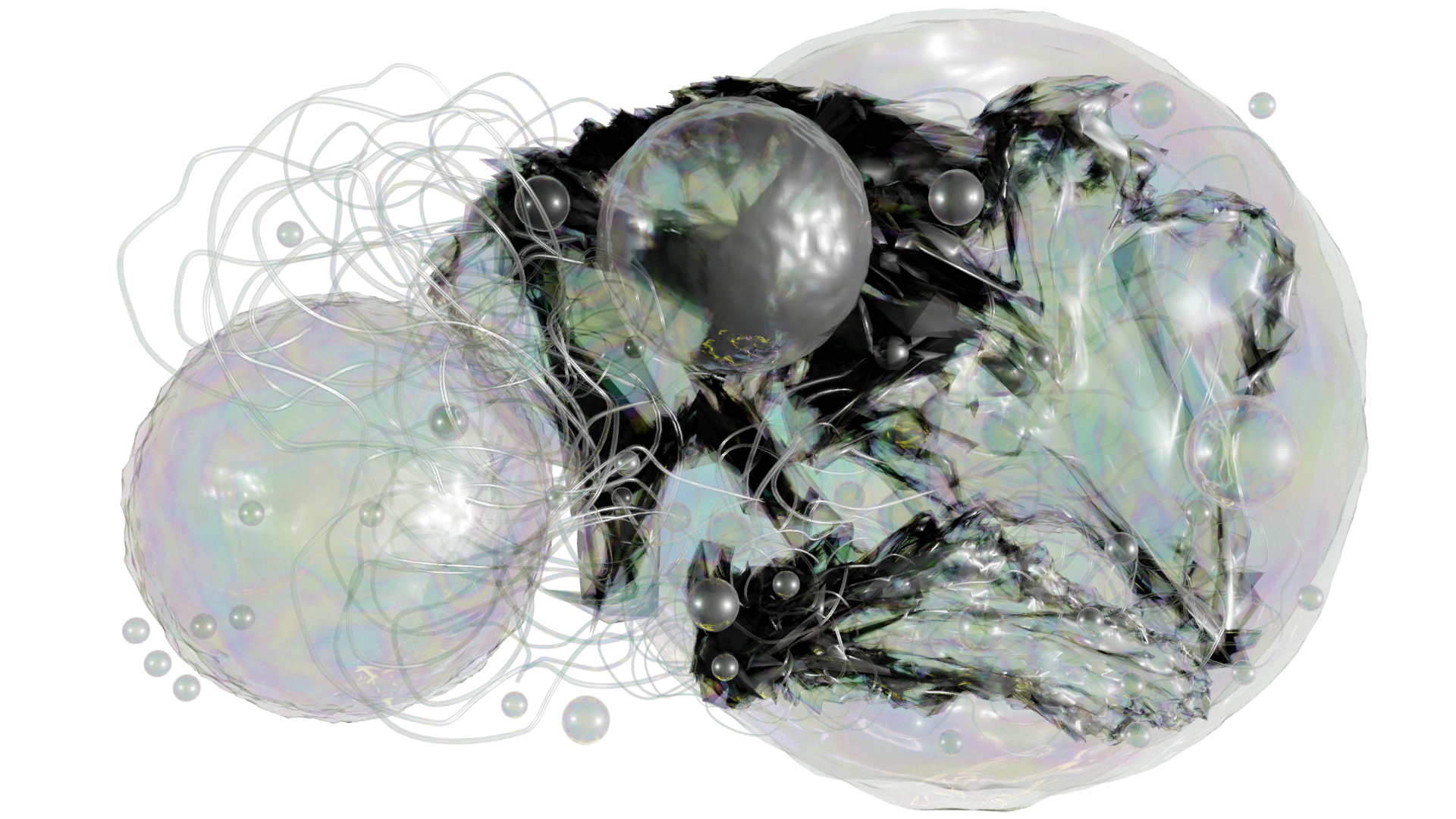 Iridescent bubbles of varying sizes fill the landscape image. Intertwined in these are lengths of wavy clear tubes. In the right hand side of the image is a black and iridescent expanse of material that has a feathered edge.