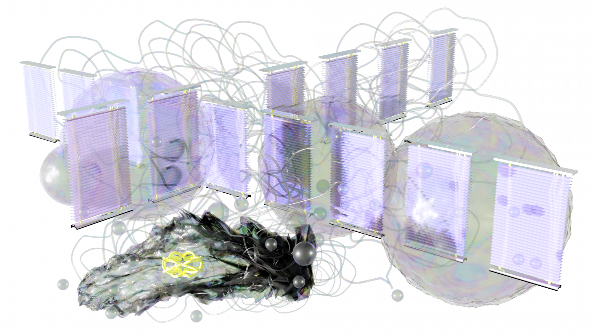 Arranged in a cross are 14 iridescent office blinds standing upright. Three large iridescent bubbles sit behind these blinds and long wavy clear tubes weave in and out of all of these objects. Smaller bubbles are also scattered around the image. In the bottom left is a darker object, almost black with multiple folds and layers. On this object sits a curled fluorescent yellow tube object. The background is empty.