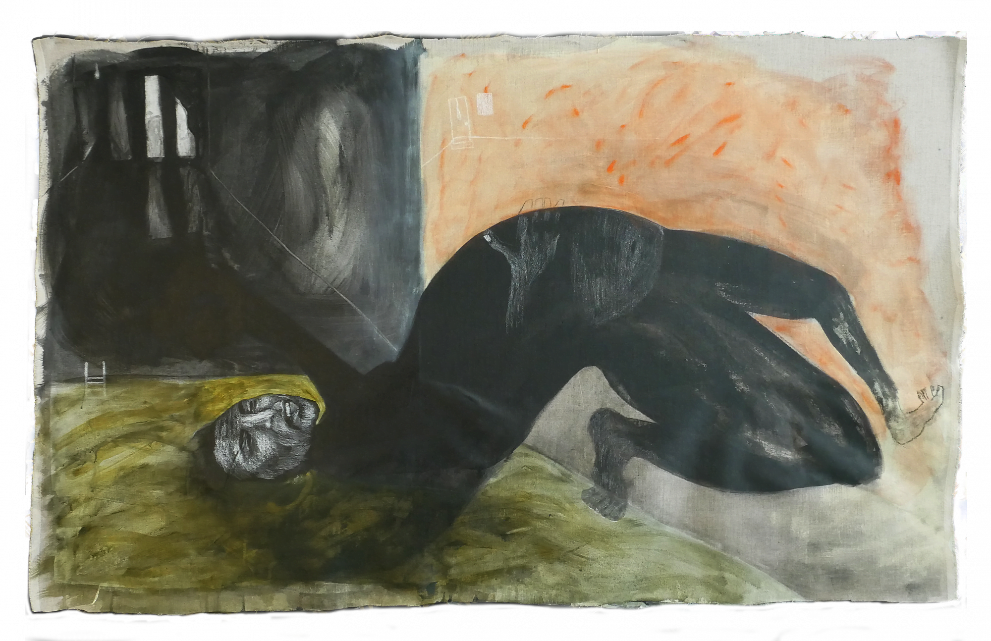 A landscape painting with a large figure bending over backwards touching the floor with their foot and head. The painting is dark in colour with large watery brush strokes.