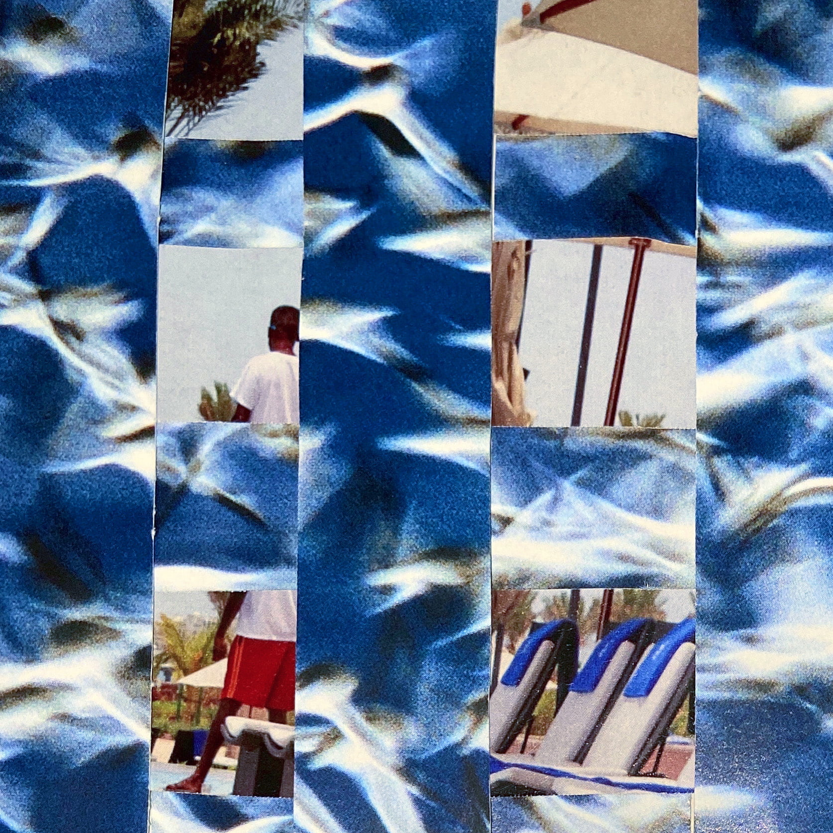 A mosaic-like collage of two images woven together in large squares. One image is a blue and white blur of wings or propellers turning in a blue sky and the other shows disrupted sections of a holiday photo of a man in swim shorts by sun loungers in a warm tropical setting.