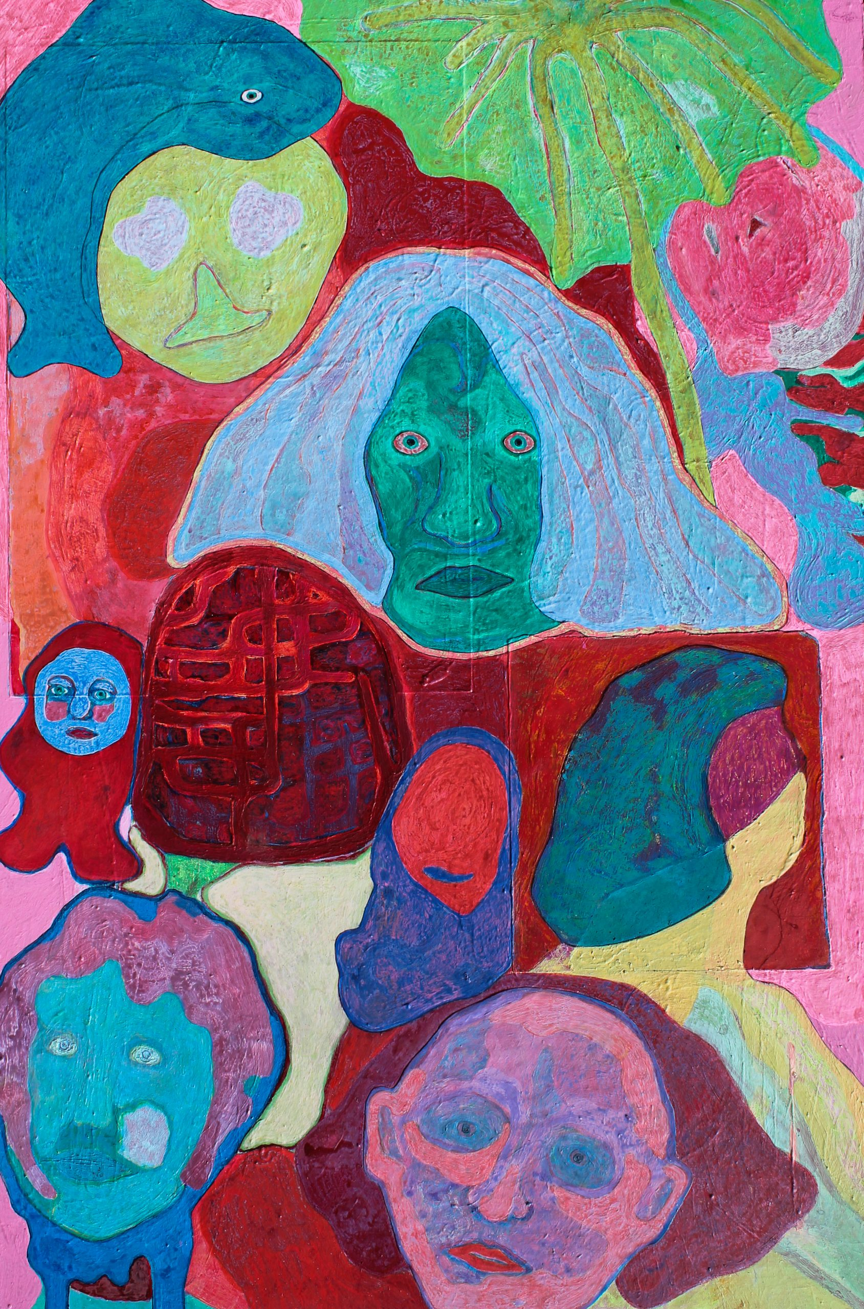 A portrait painting in dark reds, blues and pale pastel colours is filled with various faces in different colours looking directly at the viewer or turned away slightly. The central face has bright blue hair and piercing pale eyes.