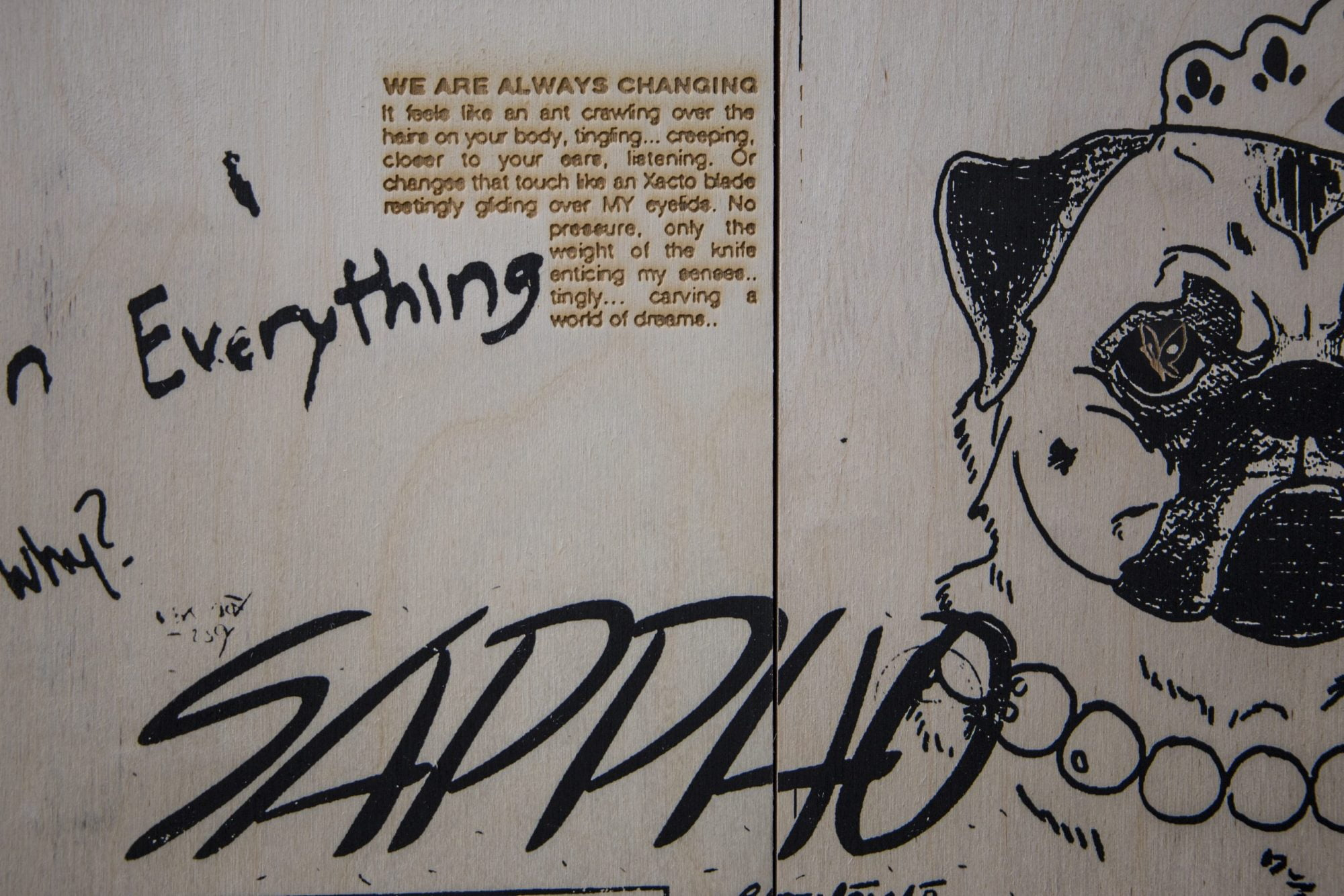 On a pale wooden surface are graffiti- style scrawls including the word SAPPHO in bold capitals as well as a pug dog in a beauty contest tiara. A few lines of text are burnt into the wood, beginning with the phrase: 'we are always changing'