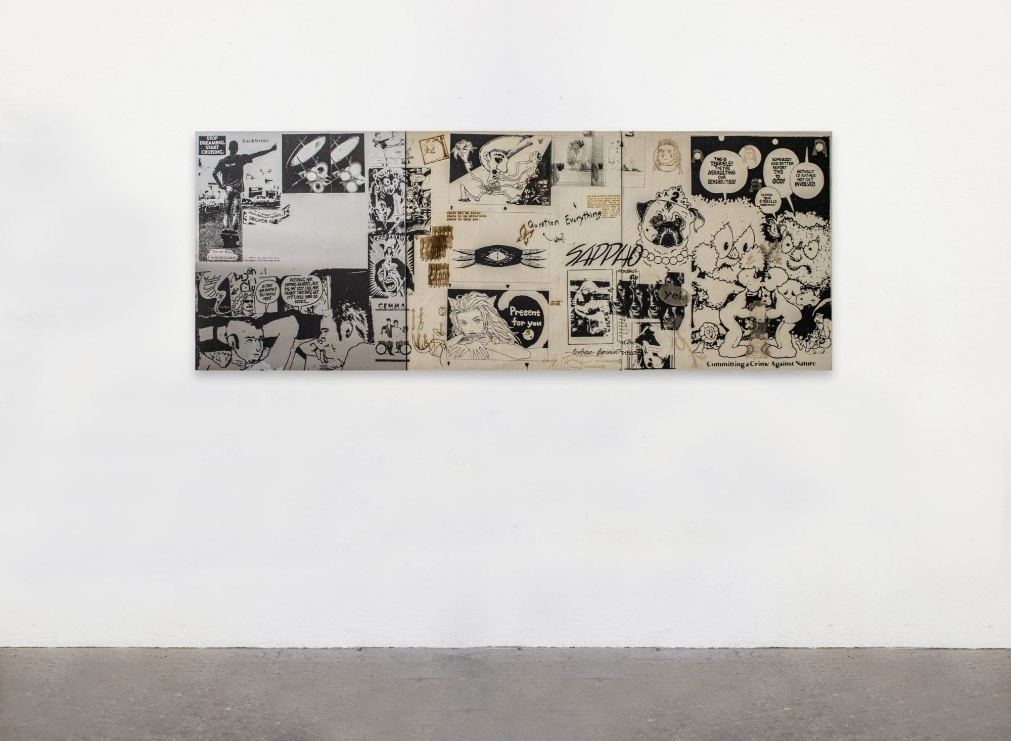This artwork, Periploi_1/3 (2021) is a triptych made up of three square panels; the left is aluminium and the two on the right are plywood. Black and white imagery, text and drawings cover the three panels that depict comic book-like stories about queer culture. Some text is also burnt into the plywood panels, appearing in a dark brown.