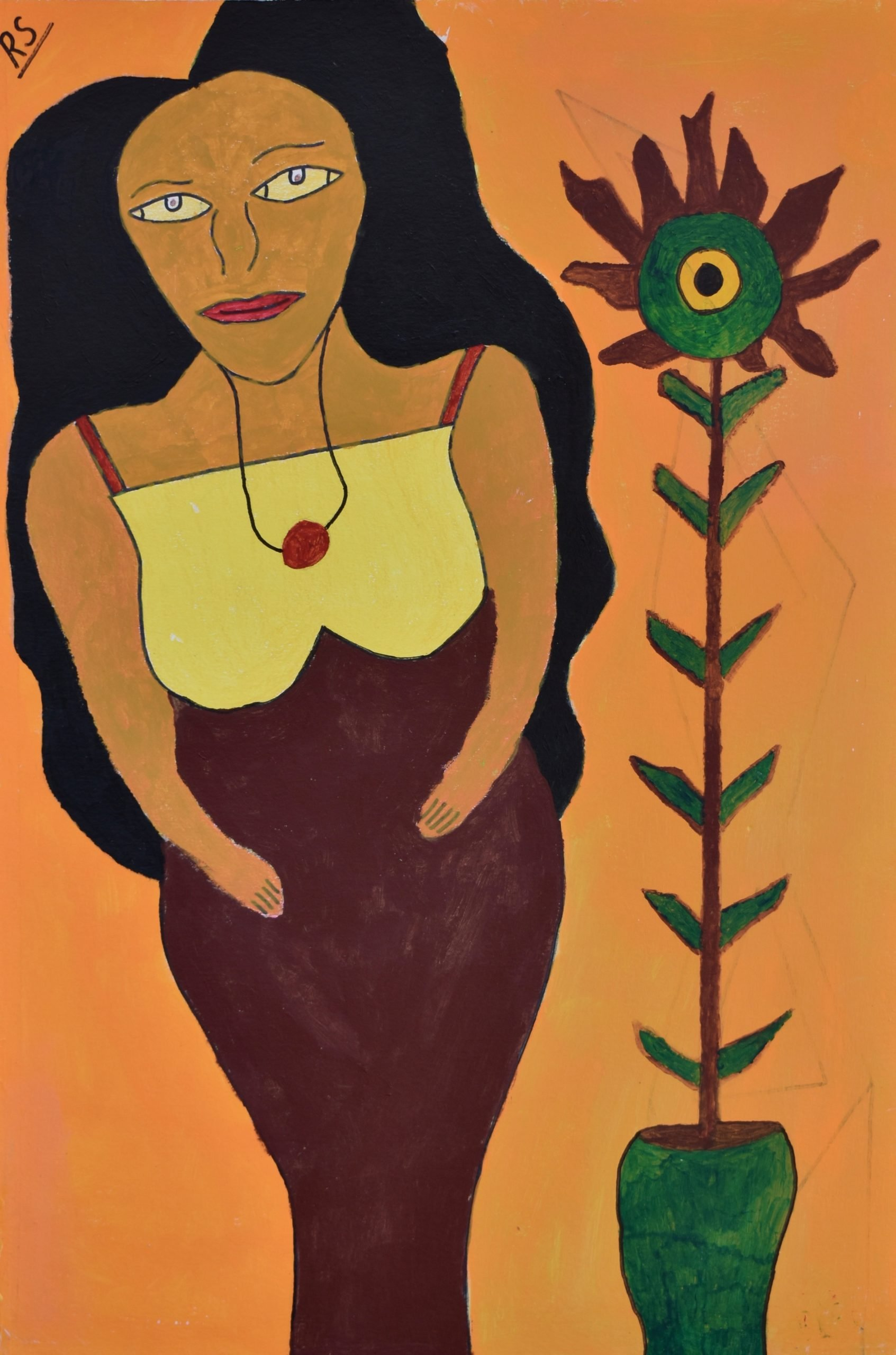 A portrait painting of a woman with long wavy dark hair standing beside a tall flowering plant on a block orange background. The woman wears a yellow and brown dress with a small pendant necklace. The plant stands straight in a green plant pot. It has short leaves and rust coloured petals.