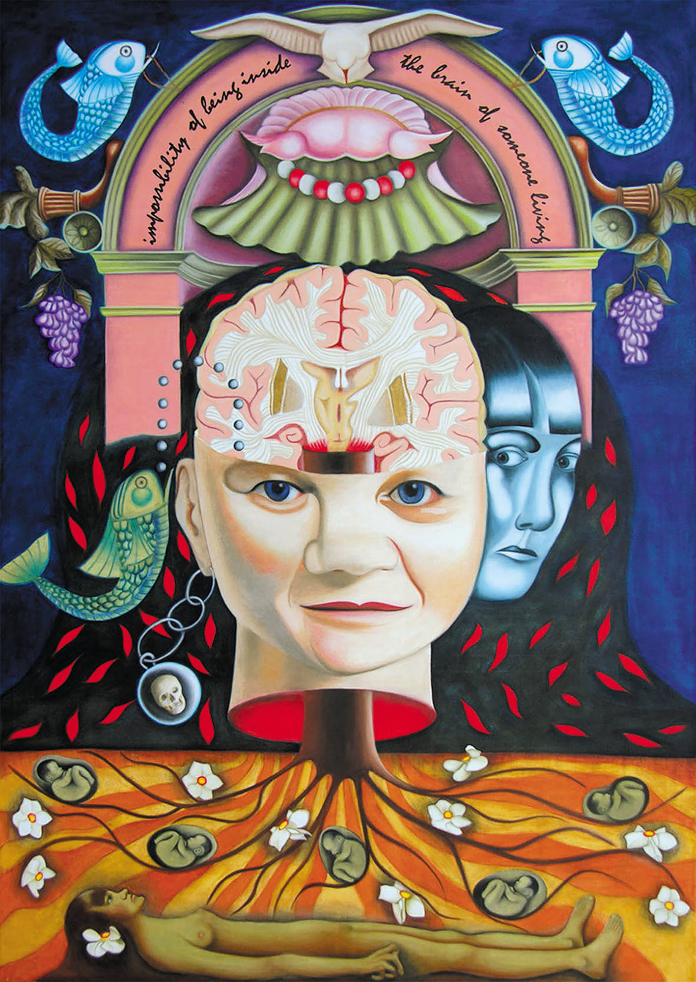 """A brightly coloured portrait painting containing intricate imagery of foetuses, roots, and fish. In the centre is a detached head rooted into the ground below. Above the head sits a pink arch that reads: """"impossibility of being inside the brain of someone living""""."""