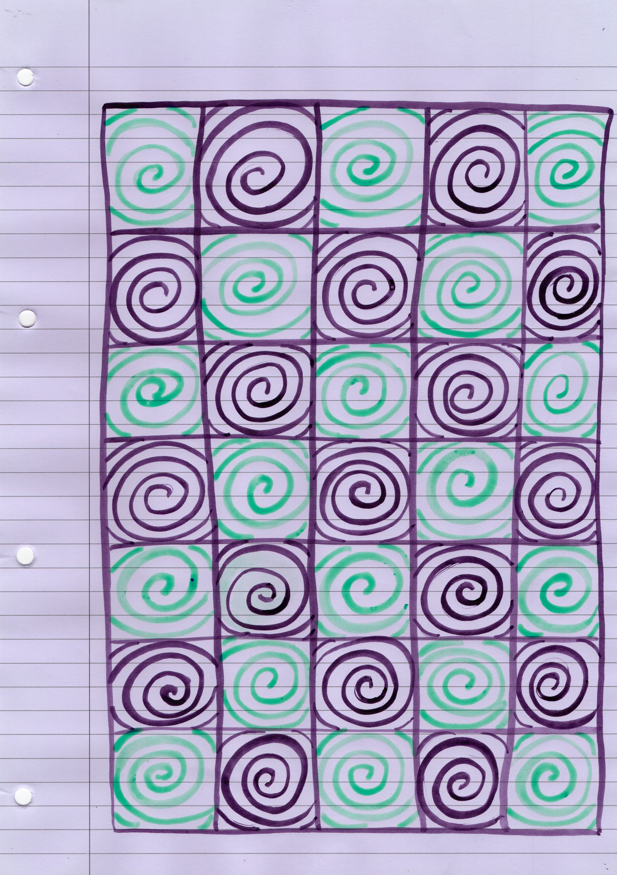 A sheet of lilac lined office paper, leaving the margin clear, is filled with a multicoloured pen drawing of 35 small spirals in purple and green. They are organised in a 5 by 7 portrait grid, with purple lines in between each spiral. A single purple line in ink surrounds the spirals, running parallel with the page margin.