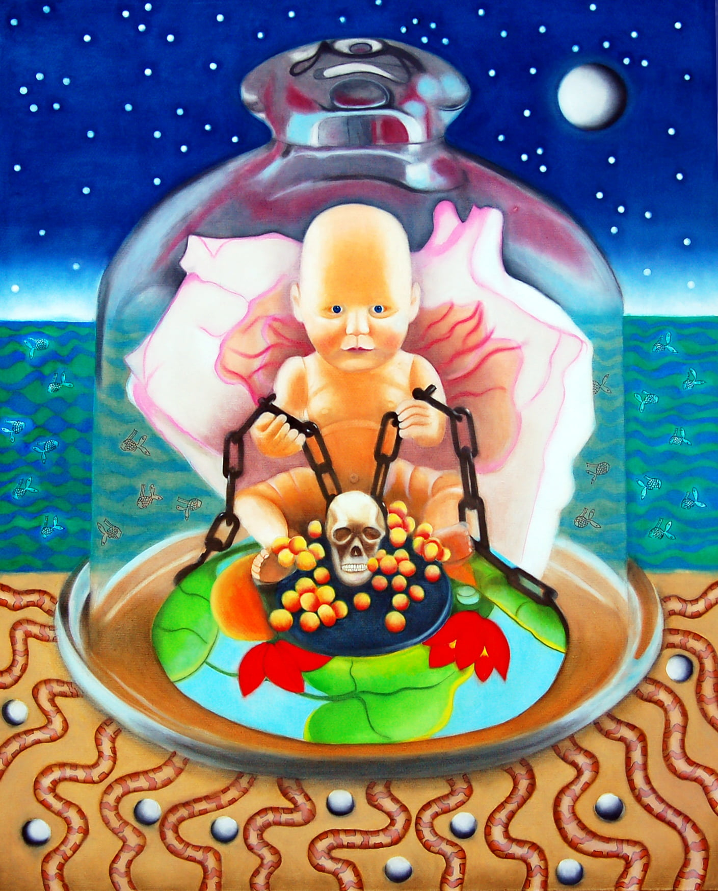 A brightly coloured portrait painting that has a large bell jar in the centre. A baby sits inside the bell jar holding onto a chain. Behind the jar is a blue sea and starry sky covered in intricate patterns.