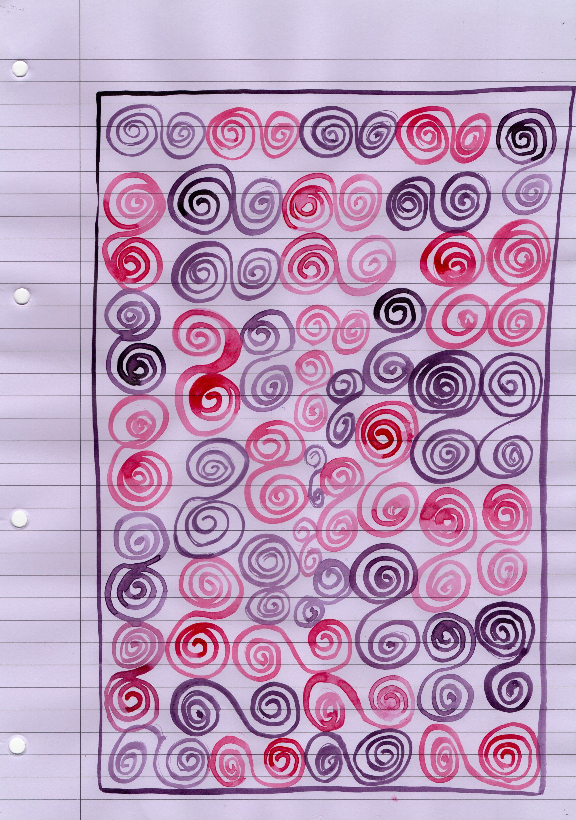 A sheet of lilac lined office paper, leaving the margin clear, is filled with a multicoloured pen drawing of nearly 100 small spirals in pinks, purples and reds. Each spiral is connected to one other, making it a drawing of spiral pairs. A single purple line in ink surrounds the spirals, running parallel with the page margin.